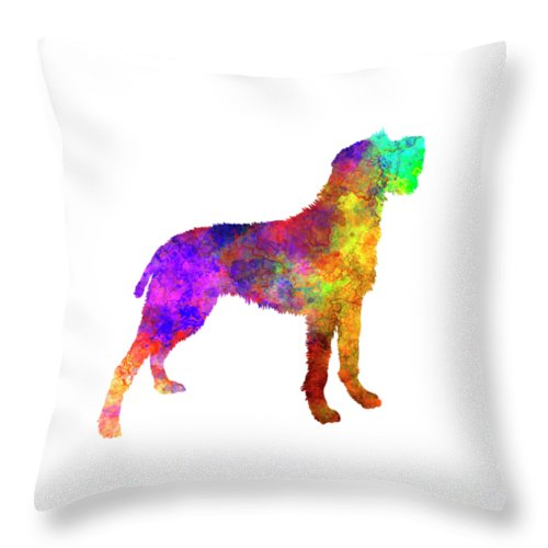 Bohemian Throw Pillow featuring the painting Bohemian Wirehaired Pointing Griffon In Watercolor by Pablo Romero