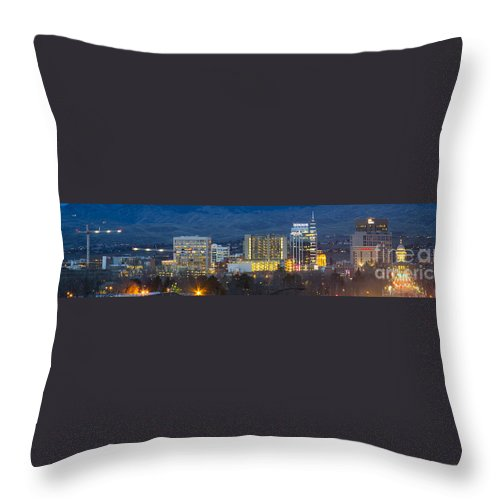 Boise Throw Pillow featuring the photograph Boise Skyline Night by Idaho Scenic Images Linda Lantzy