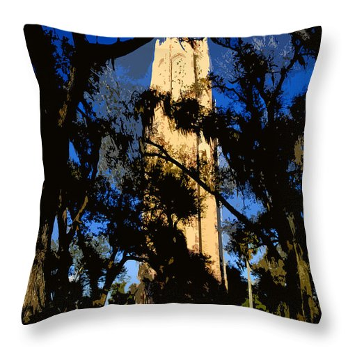 Bok Tower Throw Pillow featuring the painting Bok Tower by David Lee Thompson
