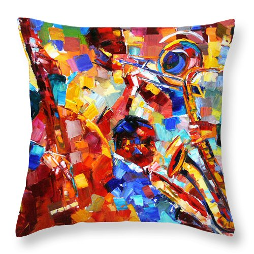Jazz Throw Pillow featuring the painting Bold Jazz Quartet by Debra Hurd