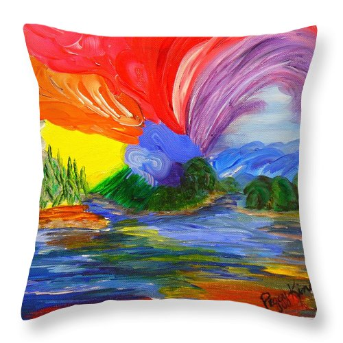 Bold Throw Pillow featuring the painting Bold New Day - Or A Trip Around My Palette by Peggy King