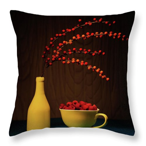Berries Throw Pillow featuring the photograph Bold Yellow With Raspberries by Tom Mc Nemar