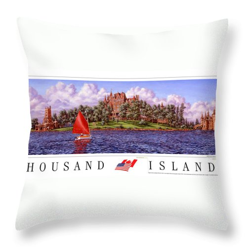 Thousand Islands Throw Pillow featuring the print Boldt's Castle Poster by Richard De Wolfe