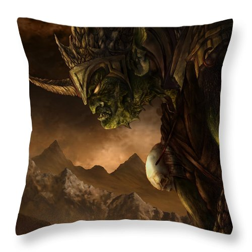 Goblin Throw Pillow featuring the mixed media Bolg The Goblin King by Curtiss Shaffer
