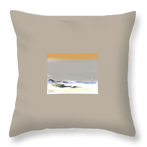 Seascape Throw Pillow featuring the painting Bolinas Beach Walker by Paul Miller