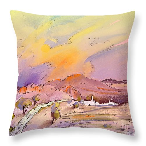 Spain Painting Throw Pillow featuring the painting Bolulla 05 by Miki De Goodaboom