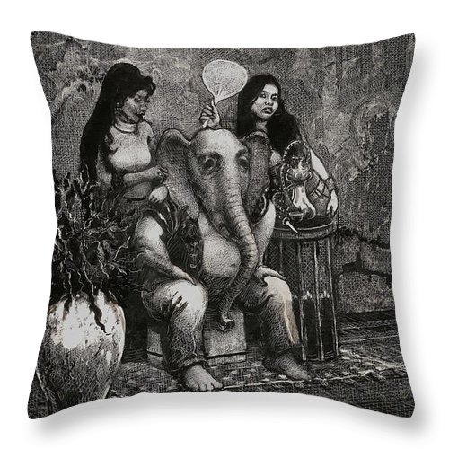 Scratchboard Drawing Throw Pillow featuring the drawing Bombay by Scott Gillis