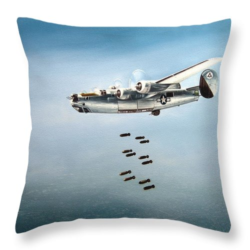 Aviation Throw Pillow featuring the painting Bombs Away by Marc Stewart