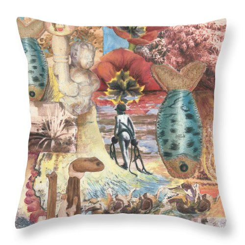 Abstract Throw Pillow featuring the digital art Bombs Away by Valerie Meotti