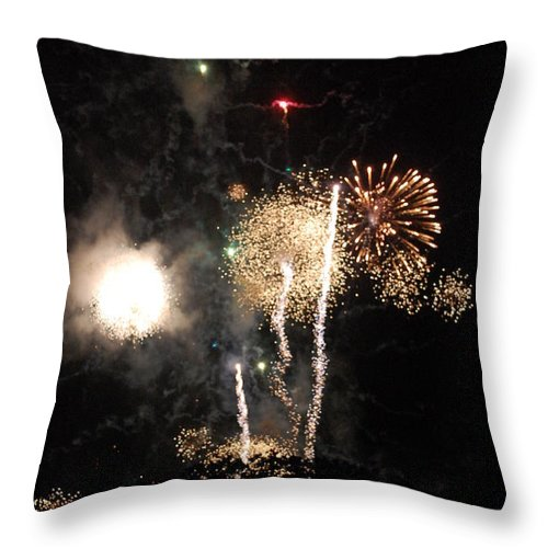Firwworks Throw Pillow featuring the photograph Bombs1 by David Lane