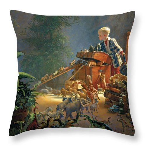 Noah's Ark Throw Pillow featuring the painting Bon Voyage by Greg Olsen