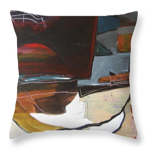 Abstract Atlantic Newfoundland Landscape Seascape Ocean Acrylic Paper Dusk Bonavista Canvas Throw Pillow featuring the painting Bonavista At Dusk by Seon-Jeong Kim