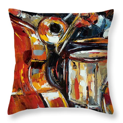 Jazz Throw Pillow featuring the painting Bone Bass And Drums by Debra Hurd