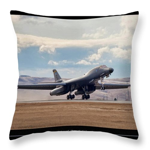 Aviation Throw Pillow featuring the digital art Bone-in Lancer by Peter Chilelli
