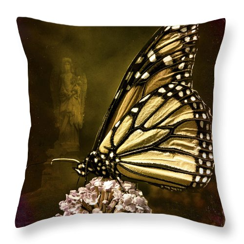 Monarch Throw Pillow featuring the photograph Boneyard Butterfly by Chris Lord