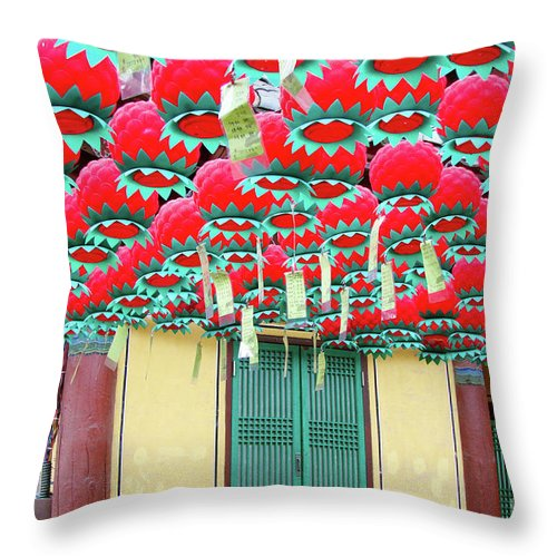 Seoul Throw Pillow featuring the photograph Bongeusa Temple In Seoul by Delphimages Photo Creations