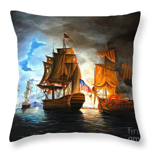 Naval Battle Throw Pillow featuring the painting Bonhomme Richard Engaging The Serapis In Battle by Paul Walsh
