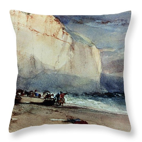 1828 Throw Pillow featuring the painting Bonington, Cliff, 1828 by Granger