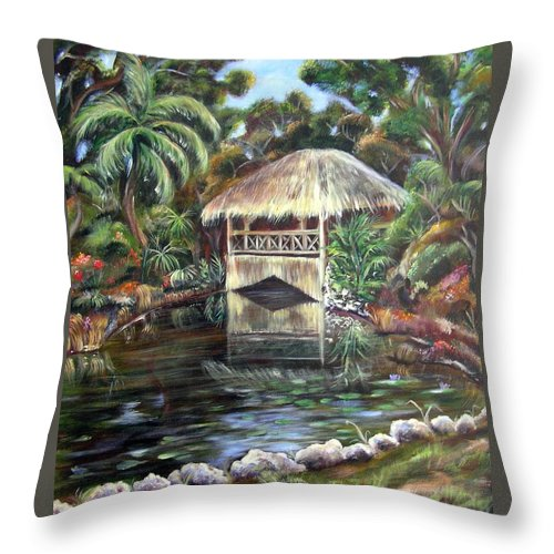 Bonnet House Throw Pillow featuring the painting Bonnet House Chickee by Patricia Piffath