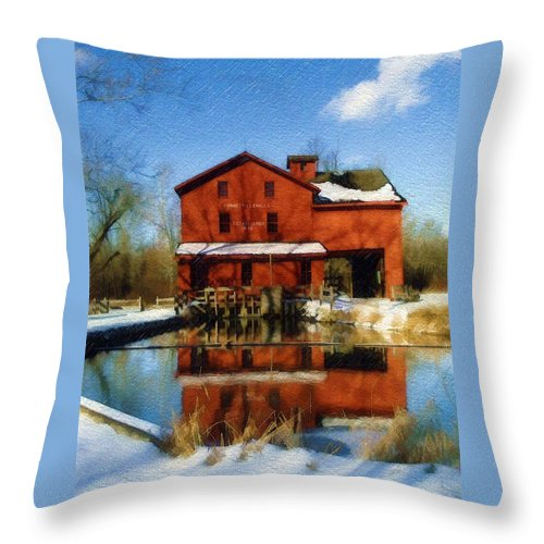 Bonneyville Mill Throw Pillow featuring the photograph Bonneyville In Winter by Sandy MacGowan
