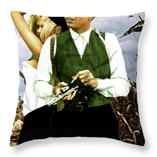 Bonnie And Clyde Throw Pillow featuring the mixed media Bonnie And Clyde by Thomas Pollart