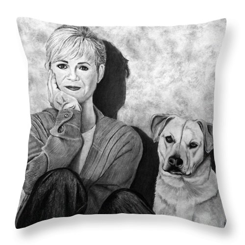 Bonnie Hunt And Charlie Throw Pillow featuring the drawing Bonnie Hunt And Charlie by Peter Piatt