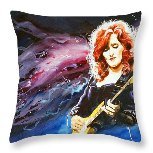 Women Throw Pillow featuring the painting Bonnie Raitt by Ken Meyer