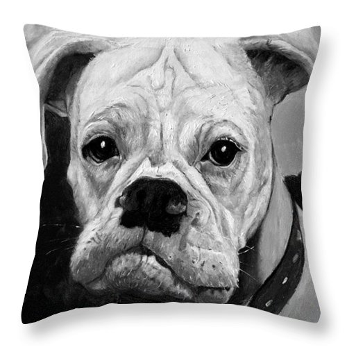 Boxer Throw Pillow featuring the painting Boo the Boxer by Portraits By NC