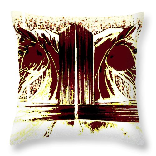 Horses Throw Pillow featuring the digital art Bookend Buddies by Will Borden