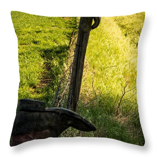 Jay Stockhaus Throw Pillow featuring the photograph Boot 2 by Jay Stockhaus