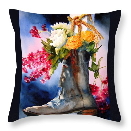 Cowboy Throw Pillow featuring the painting Boot Bouquet by Karen Stark