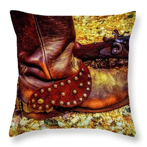 Cowboy Throw Pillow featuring the photograph Boot With Spur And Shotgun by Garry Gay