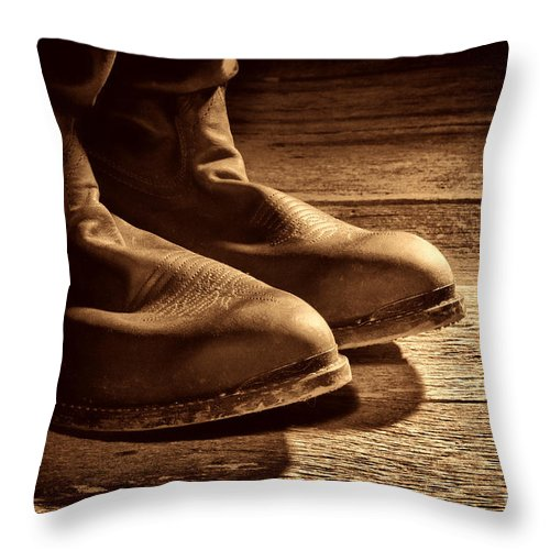Boots Throw Pillow featuring the photograph Boots by American West Legend By Olivier Le Queinec