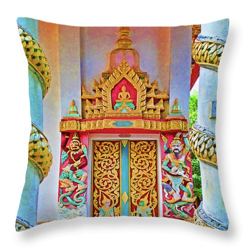Bophut Throw Pillow featuring the photograph Bophut Temple In Thailand by Charlene Mitchell