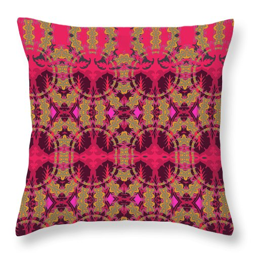 Red Pattern Throw Pillow featuring the digital art Bordeaux by Ceil Diskin