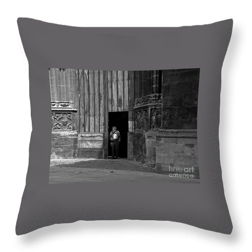 Bordeaux Throw Pillow featuring the photograph Bordeaux Church Door by Thomas Marchessault