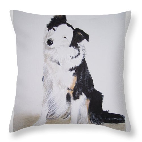 Dog Portrait Throw Pillow featuring the painting Border Collie - Birch by Janice M Booth