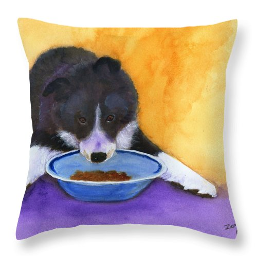 Dog Throw Pillow featuring the painting Border Collie Puppy by Mary Jo Zorad