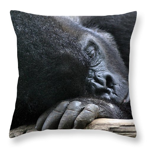 Gorilla Throw Pillow featuring the photograph Bored And Lonely by Mary Haber