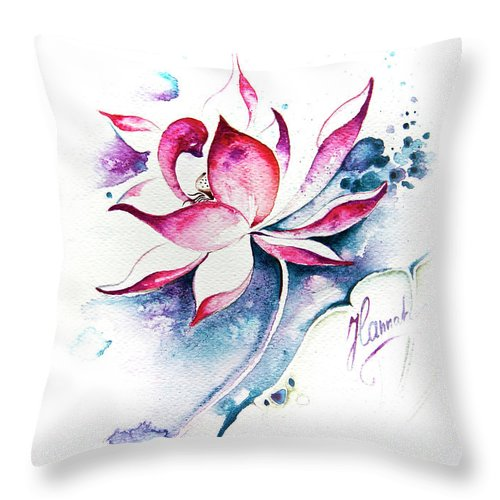 Lotus Flower Throw Pillow featuring the painting Born For Freedom by Anna Ewa Miarczynska