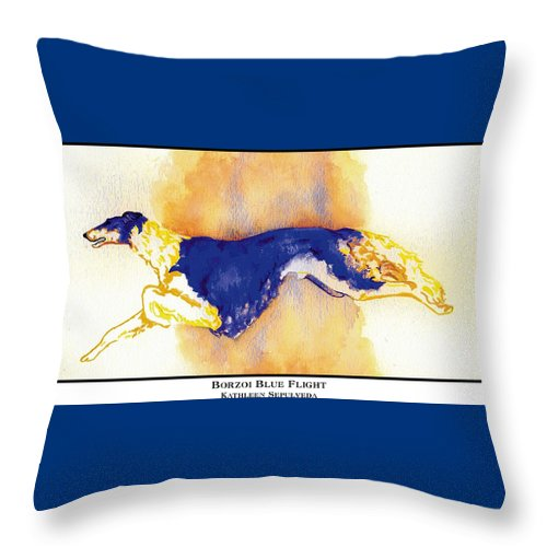 Borzoi Throw Pillow featuring the digital art Borzoi Blue Flight by Kathleen Sepulveda
