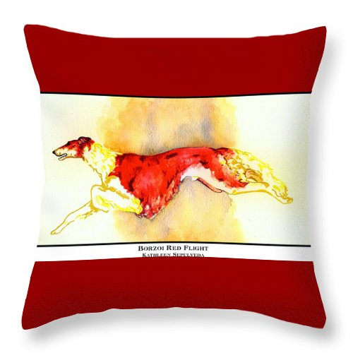 Borzoi Throw Pillow featuring the digital art Borzoi Red Flight by Kathleen Sepulveda