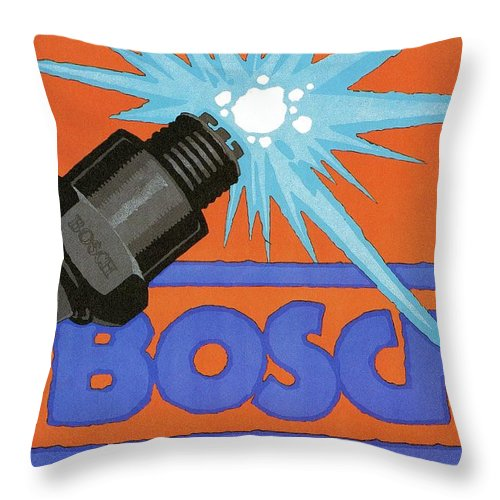 Vintage Throw Pillow featuring the mixed media Bosch Spark Plug - Vintage Advertising Poster - Minimal Industrial Art by Studio Grafiikka