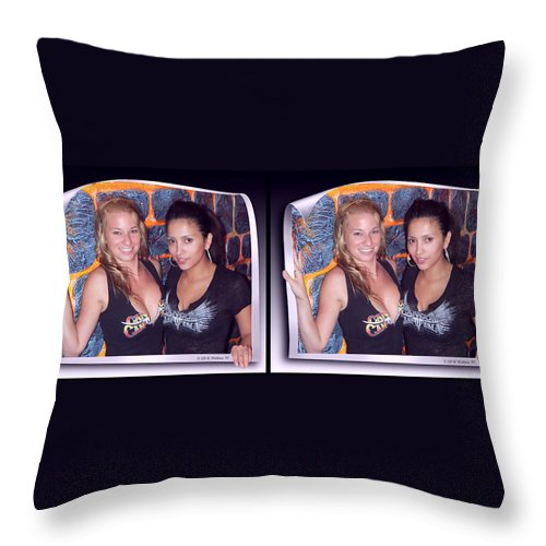 3d Throw Pillow featuring the photograph Bossom Buddies - Gently Cross Your Eyes And Focus On The Middle Image by Brian Wallace