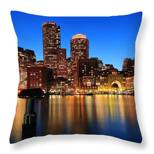 Boston Throw Pillow featuring the photograph Boston Aglow by Rick Berk