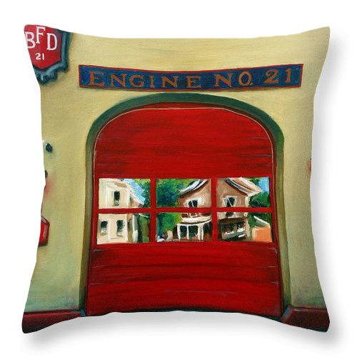 Fire House Throw Pillow featuring the painting Boston Fire Engine 21 by Paul Walsh
