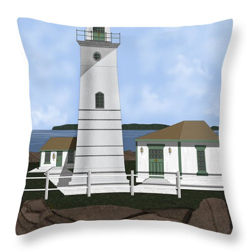 Lighthouse Throw Pillow featuring the painting Boston Harbor Lighthouse On Brewster Island by Anne Norskog