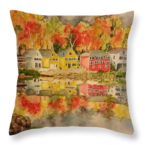 Fall Throw Pillow featuring the painting Boston In The Fall by Aaron Beaty