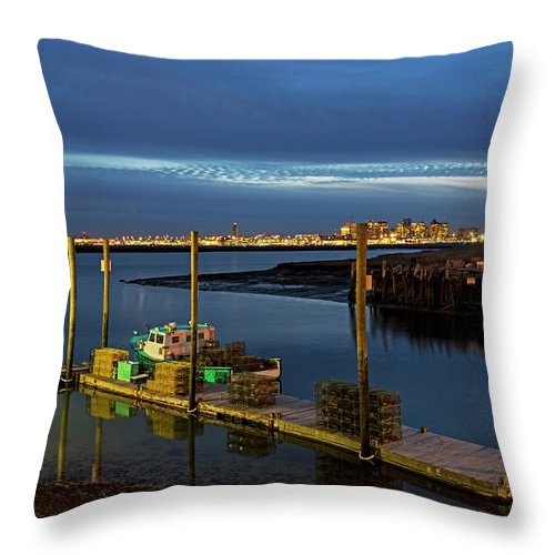 Boston Throw Pillow featuring the photograph Boston Ma Belle Isle Boat Pier And Skyline Logan Airport by Toby McGuire