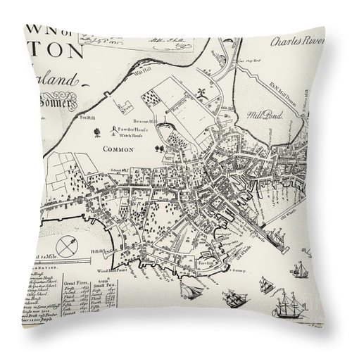 1722 Throw Pillow featuring the photograph Boston Map, 1722 by Granger